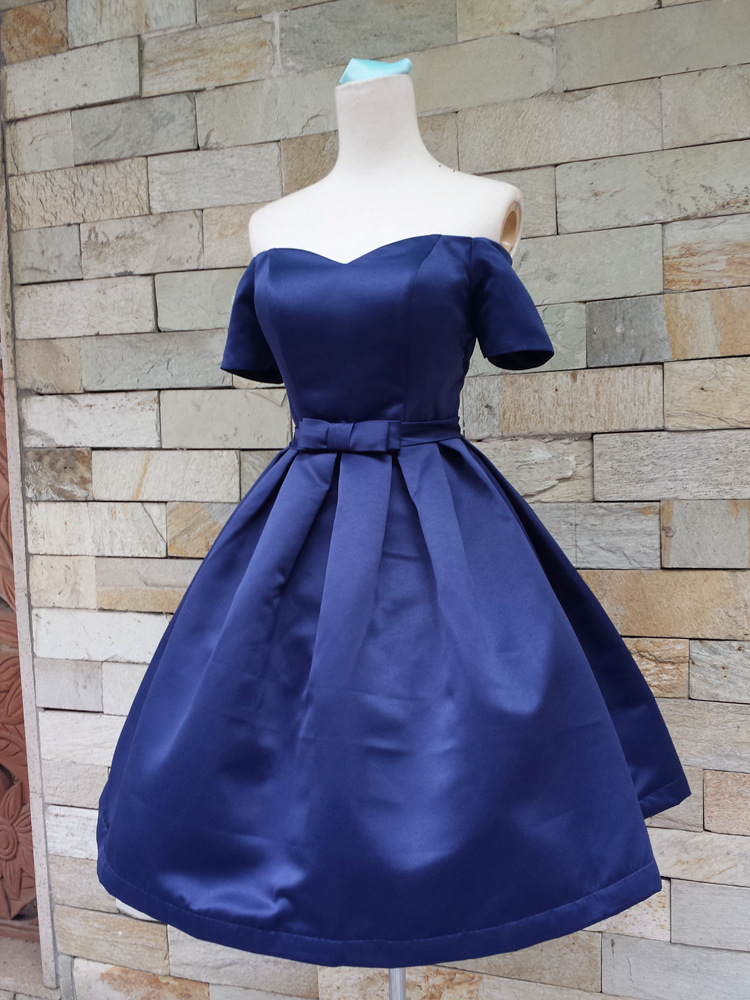 62ed8d47353fa Royal Blue Off-The-Shoulder Sweetheart Neckline Short Homecoming Dress with  Bow Accent