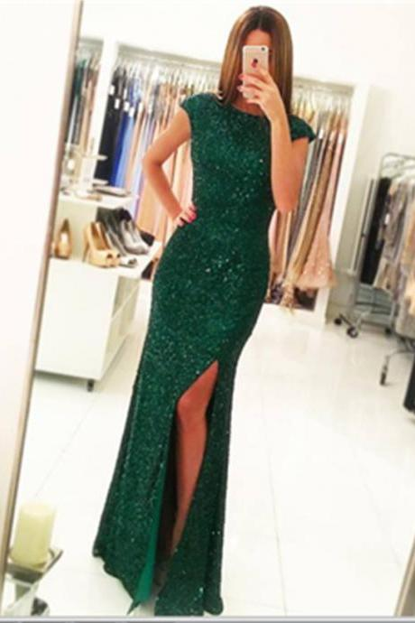 Sparkly Prom Dress,Green Prom Dresses,Backless Prom Dress,Gorgeous Prom Dresses,Long Prom Dress,Cpa Sleeves Prom Dress,Prom Dresses For Teens