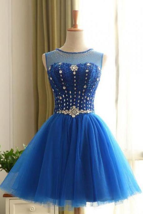 Jewel Short Homecoming Dress,Beading Prom Dress,Blue Homecoming Dresses,Cute Homecoming Dress,Mini Homecoming Dresses,Short Homecoming Dress,Sweet 16 Dresses