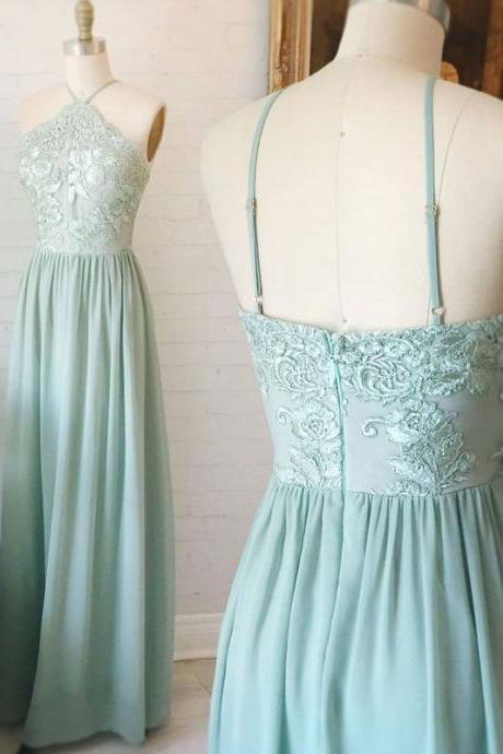 chiffon Prom Dresses,Long Prom Dresses,Evening Dress,Prom Gowns, Simple Prom Dresses,A-Line Prom Dress,Halter Prom Dress,Long Prom Dresses, Chiffon Prom Dress with Appliques,Spaghetti Straps Prom Dresses,Prom Dress