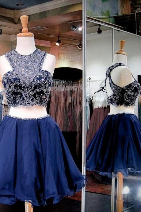 Two Pieces Navy Homecoming Dresses, Luxury Rhinestone Homecoming Dresses, Navy Homecoming Dresses, Modern Homecoming Dresses, Beading Short Prom Dresses, Homecoming Dresses, Sweetheart 16 Dresses