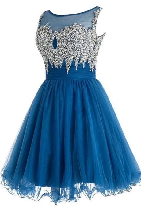 Graduation Dresses Cheap Vestidos De Festa Beaded Crystals Cap Sleeve Homecoming Dresses Short