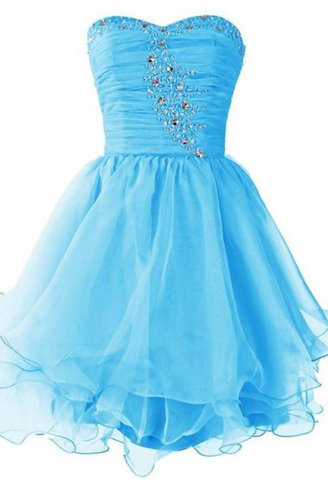 Crystal Embellished Blue Ruched Sweetheart Short Tulle Homecoming Dress Featuring Curly Hem and Lace-Up Back