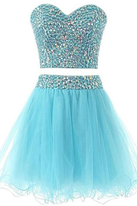 High School Graduation Dresses Sexy Two Piece Homecoming Dress Short Crystals Prom Cocktail Dress