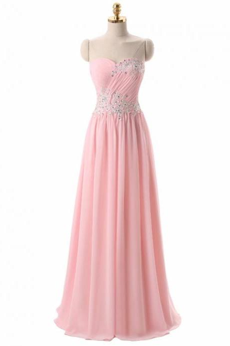 Strapless Sweetheart Ruched Lace Appliqués Chiffon A-line Long Prom Dress, Evening Dress