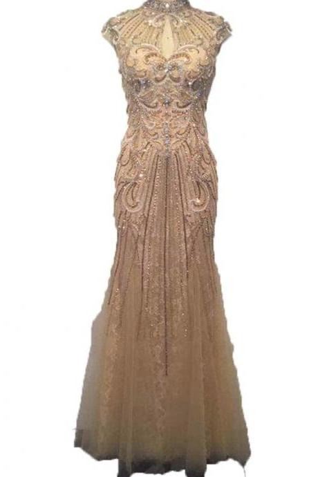 New Real Photo Dubai Halter Mermaid Prom Dress Full of Beaded Crystal Luxurious Prom Gown