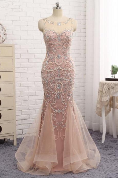 Mermaid Dubai Long Evening Dresses New Blush Crystal Beaded Pearl Sheer Prom Dress