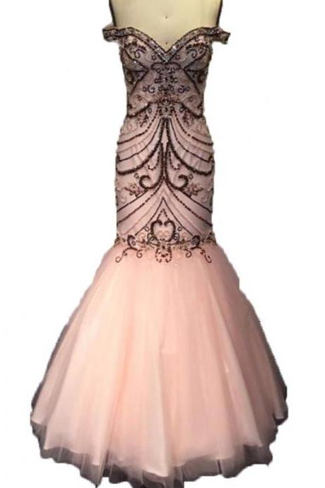 New Fashion Mermaid Prom Dress Sweetheart Beaded Crystal Pink Prom Dresses Slim Graceful Evening Gown