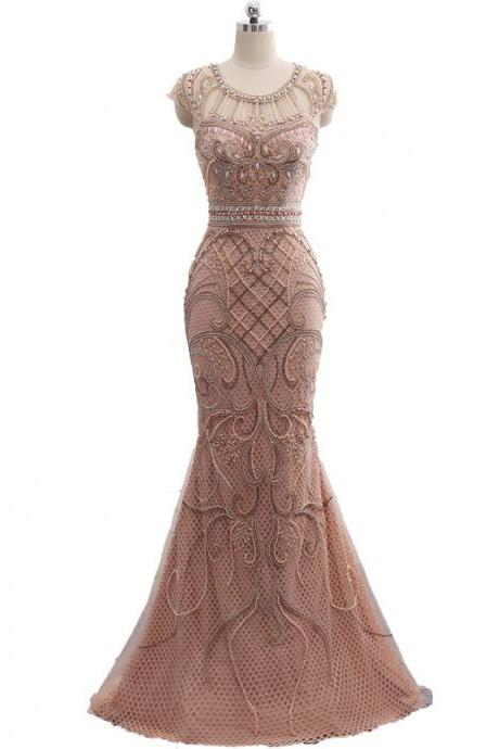 Champagne Color Party Occasion Formal Long Mermaid Evening Dress heavy Beaded In stock