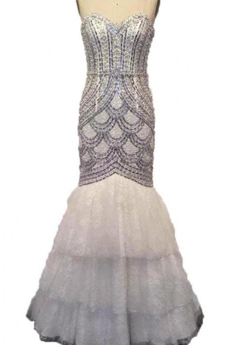 White Evening Dresses Full of Beaded Crystal Mermaid Evening Gown Sexy Luxury Prom Dresses