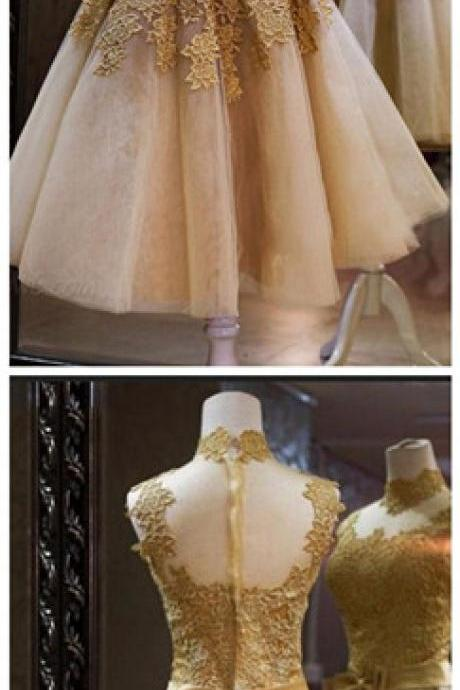 Short Prom Dress Elegant Appliques Lace With Bow Sashes Short Prom Dresses Fashion Ball Gown Party Prom Dresses