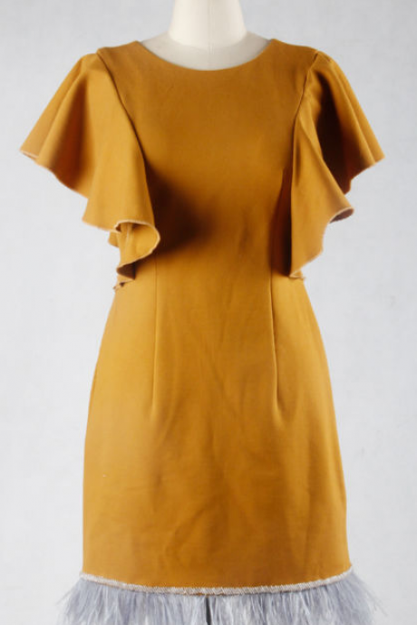 Yellow Crepe Short Feather Cocktail Dress