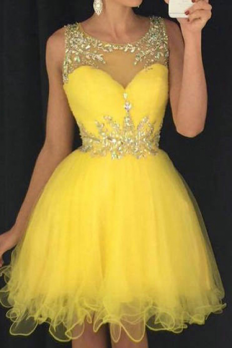 Bateau Neck Yellow Short Prom Dress, Sweet Illusion A-line Tulle Mini Prom Dress, Elegant Sleeveless Ruffles Prom Dress with Beads