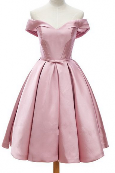 Off-Shoulder Neckline Pleated Satin Short Dress with Ribbon , Homecoming Dress, Cocktail Dresses, Graduation Dresses
