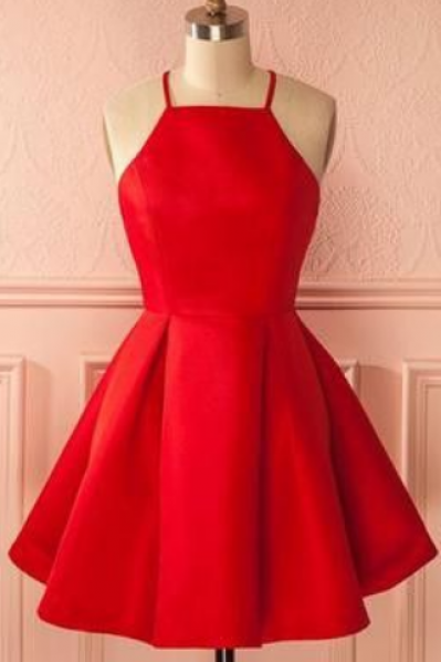 Red Halter Short Ruffled Skater Homecoming Dress Featuring Open Back