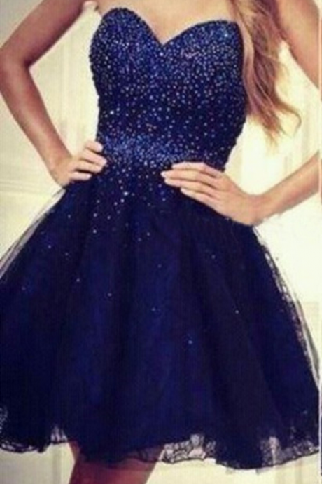 Sequins Navy-Blue Short Strapless Beading Tulle Sweetheart Homecoming Dresses