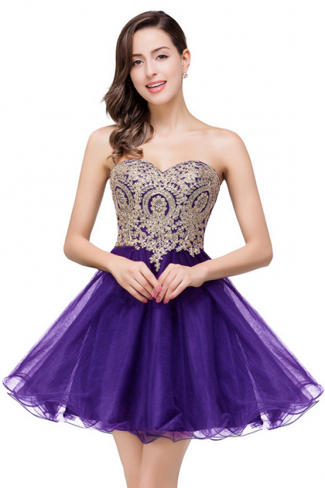Short Lovely Cheap Organza Beaded Sweetheart Sparkly Appliques Homecoming Dresses