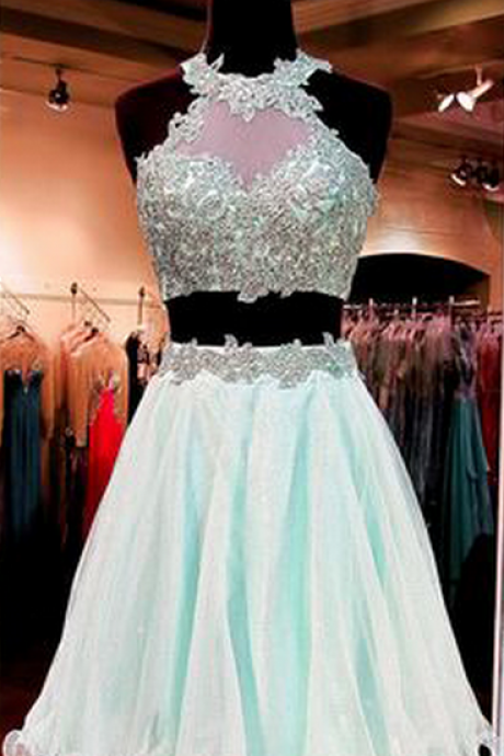 High Neck Lace Homecoming Dresses, Two Pieces Mint Homecoming Dresses, Organza Homecoming Dresses, Open Back Homecoming Dresses, Charming Homecoming Dresses, Cheap Homecoming Dresses, Popular Homecoming Dresses, Homecoming Dresses