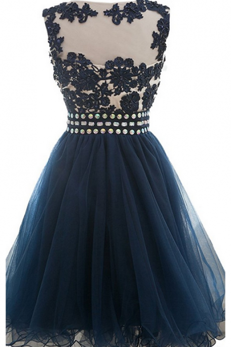 A Line Appliques Beaded Scoop Short Homecoming Dress