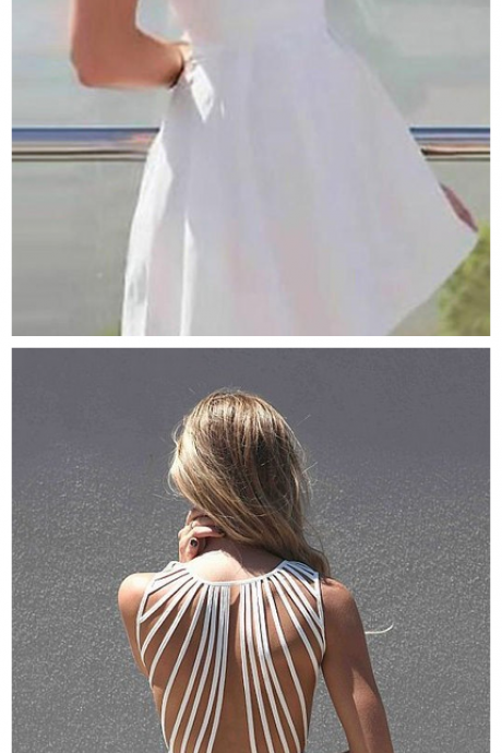 Simple A-Line Straps Backless White Satin Mini Homecoming Dress