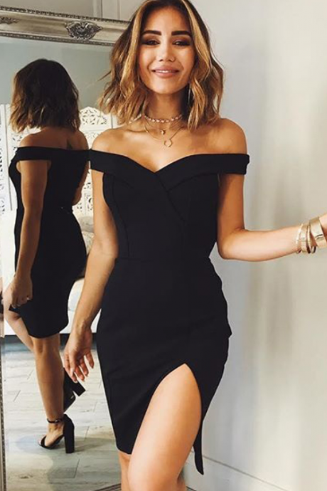 Off shoulder Homecoming Dresses,Black Homecoming Dress,Satin Homecoming Dress,Split Prom Dresses,Short Prom Dress,Cocktail Dresses