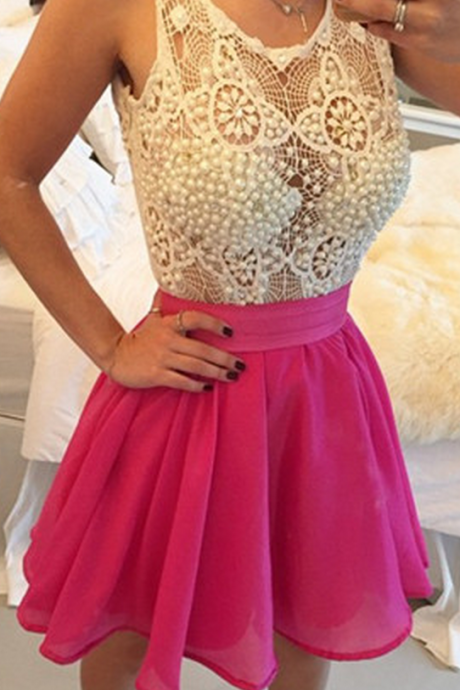 Mini A-Line Homecoming Dresses, Sleeveless Cocktail Homecoming Dresses with Beadings,Homecoming Dress