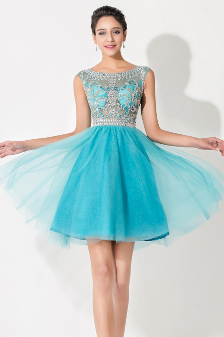 Blue Tulle Homecoming Dress,Cap Sleeve Homecoming Dresses