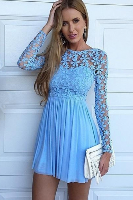 Long Sleeve Homecoming Dress,Blue Applique Homecoming Dresses