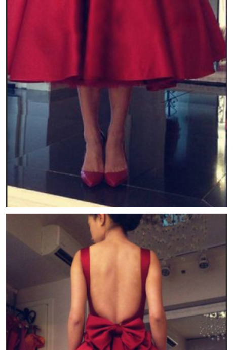 Open Back Homecoming Dress,Red Bowknot Homecoming Dresses