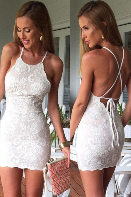 Sheath Sleeveless Criss-Cross Straps White Lace Homecoming Dress