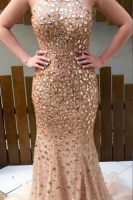 Sexy Mermaid Prom Dresses,Shiny Beaded Prom Dresses,Backless Prom Dresses,Champagne Prom Dresses,Evening Dresses,Custom Made Prom Dress,Party Dresses
