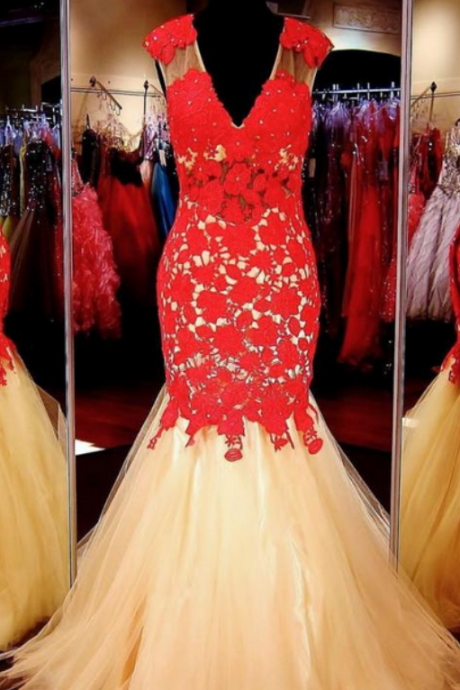 Gold Prom Dress with Red Lace,Formal Dress,Prom Dress Mermaid,Lace Prom Gown,Prom Dress Long,Homecoming