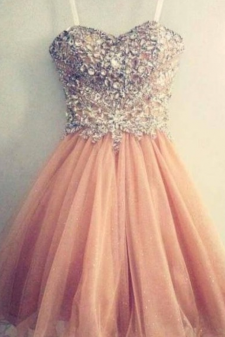 Elegant Homecoming Dresses,A-line Homecoming Dresses,Beaded Homecoming Dresses,Pink Homecoming Dresses,Short Prom Dresses,Party Dresses