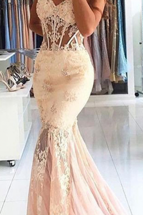 Appliques Lace Long Evening Dress Cheap Mermaid Sweetheart Stunning Prom Dress