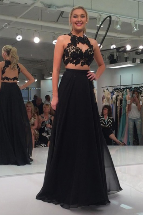 Black Two-Piece Sexy A-line Lace-Appliques Sleeveless Prom Dress
