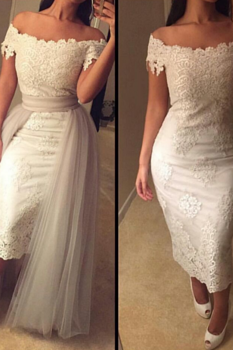 Lace Detachable Train Formal Dress Tea Length Modest Off-the-shoulder Prom Dress