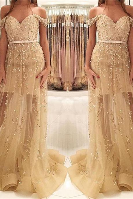 Champagne Gold Beads Sequins Prom Dress Off The Shoulder 2017 Illusion Evening Gown