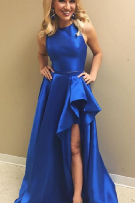 Long Royal Blue Side Slit Prom Dress Cheap Long Elegant Ruffles Latest Evening Gown