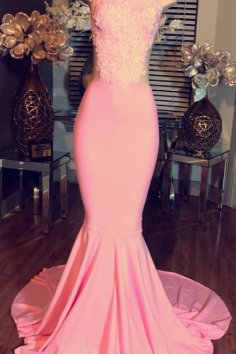 High Neck Long Evening Dress Cheap Lace Sleeveless Pink Mermaid Prom Dresses