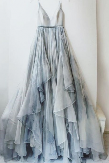 Gradient Prom Dress,Ombre Evening Dress,Prom Dresses,Chiffon Formal Gowns,Teens Bridesmaid Gown For Teens