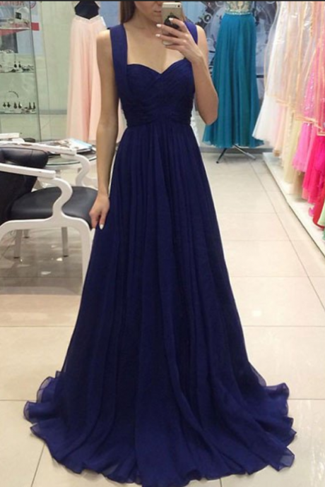 Charming Prom Dress, Chiffon Prom Dress, Long Prom Dress, Sweetheart Prom Dress, Elegant Long Evening Dress, Navy Formal Dresses