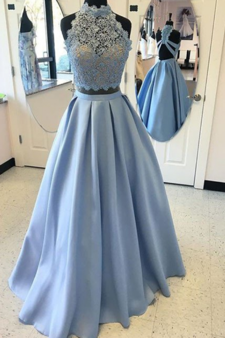 Blue Two Pieces Lace Long Prom Dress, High Neck Prom Dress, A-line Prom Dress, Backless Prom Party Dress, Blue Lace Evening Dress, 2 Pieces Prom Dresses, Senior Prom Dress