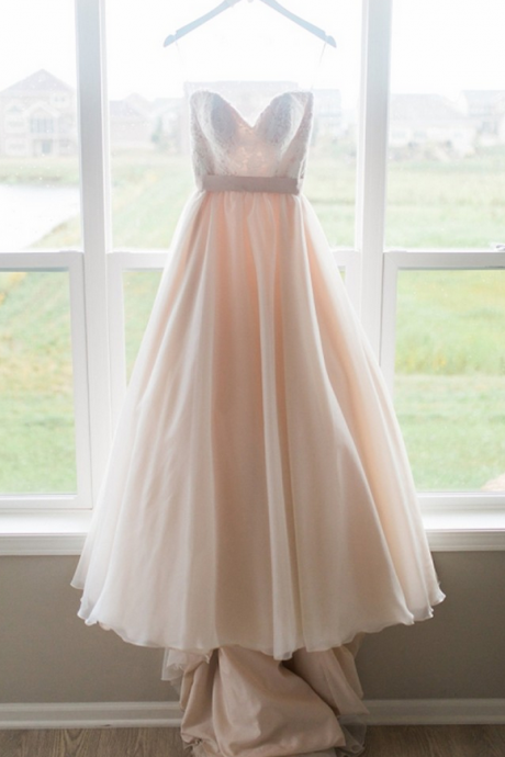 Blush Pink Prom Dress, Chiffon Long Prom Dress, Sweetheart Prom Dresses, Sexy Sleeveless Prom Dress with Lace, A-line Prom Dress, Ball Gown for Teens, Prom Dress for Senior