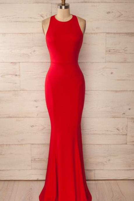 Red Fitted Halter Maxi Dress, Red Prom Dress, Sexy Prom Dress, Backless Evening Dress, Formal Dress for Woman