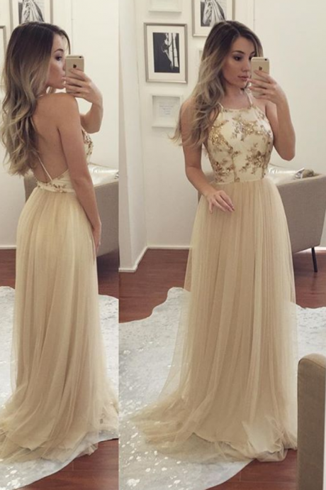 2017 Champagne Halter Prom Dress, Backless Tulle Formal Gown,Long Party Dress