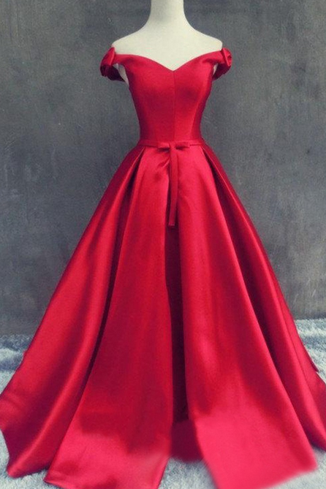 Elegant Off-the-shoulder Satin Prom Dress With Lace Up Back, Red Long Prom Dress, Formal Dresses, Sweet 16 Dress, Prom Dress