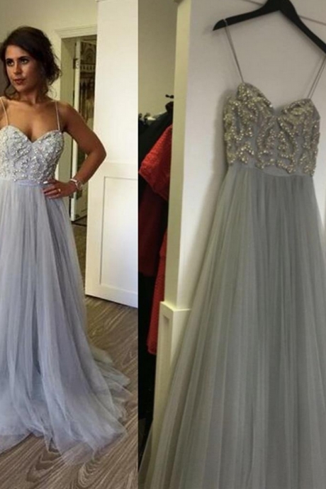 Beaded Silver Grey Tulle Prom Dress,Sweetheart Long Party Dress With Spaghetti Straps