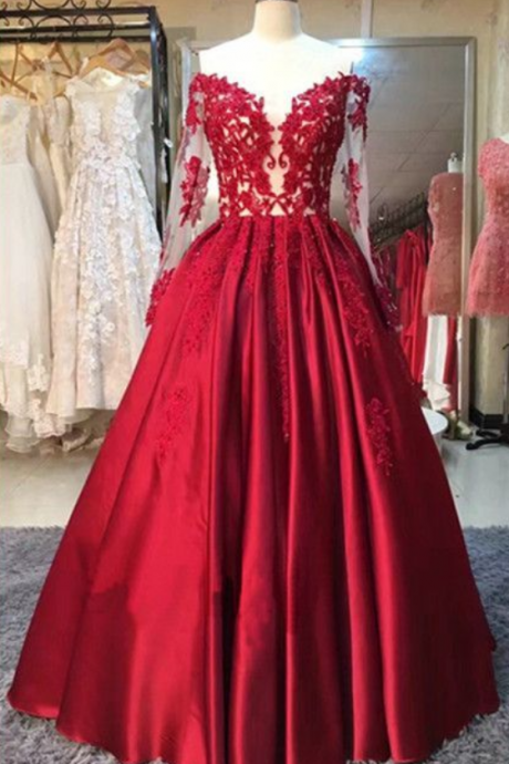 Red Prom Dress, Cute Prom Dress, A-line prom dresses, ball gown prom dresses, long sleeves evening dresses
