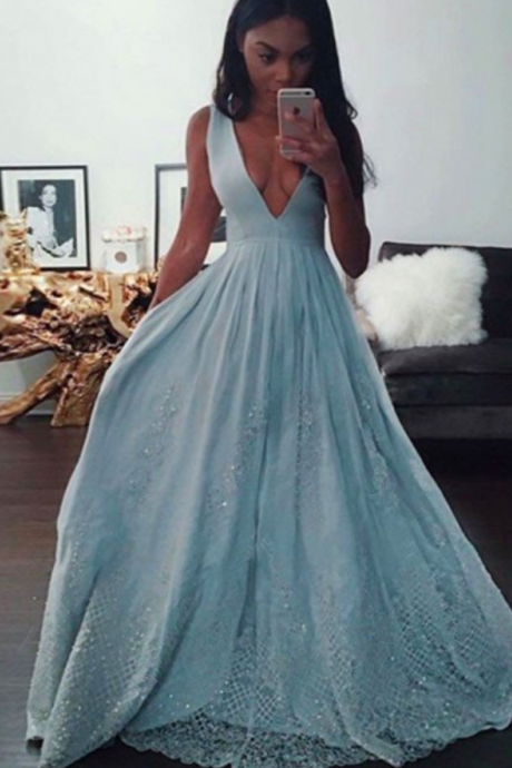 2017 Light Blue Deep V Neck Formal Gown, Long Party Dress, Prom Dress With Appliques