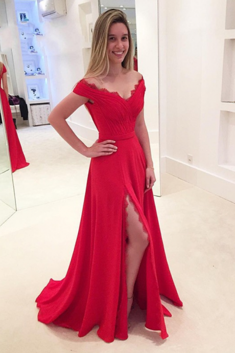 2017 Red Off The Shoulder Formal Gown , Long Party Dress Chiffon Prom Dress With Side Slit
